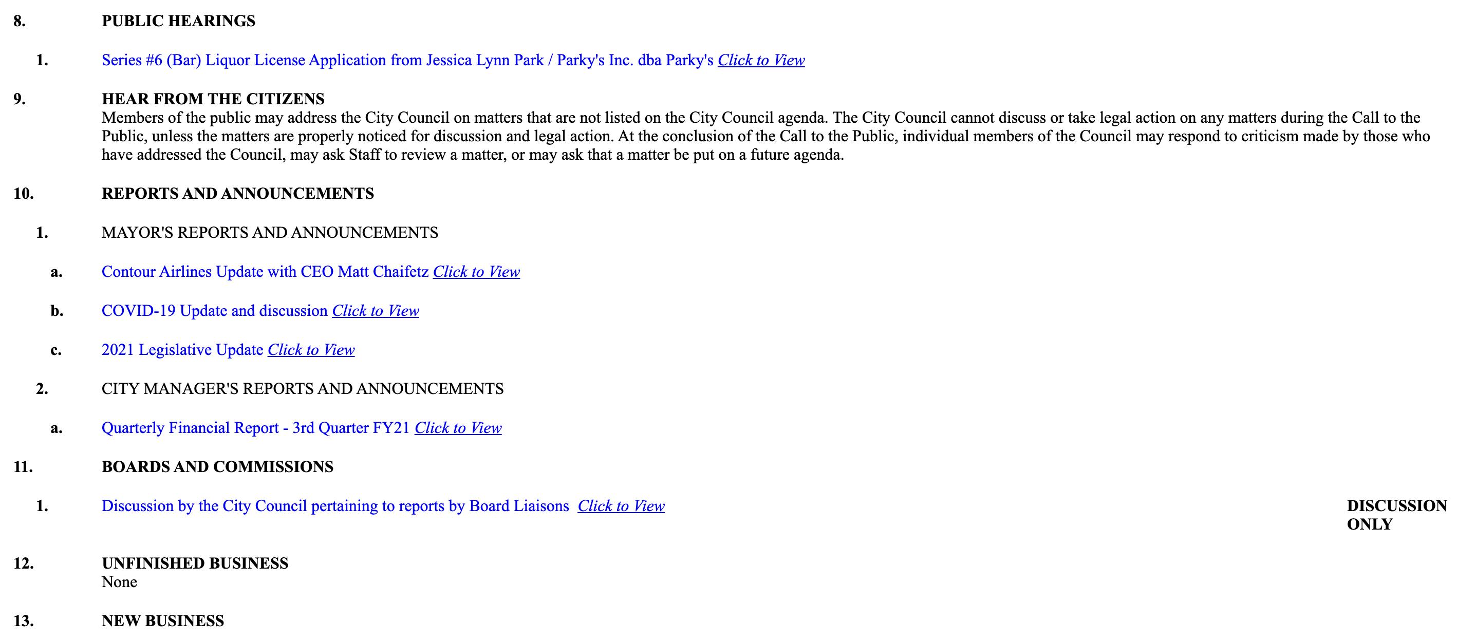 City Council Agenda Example