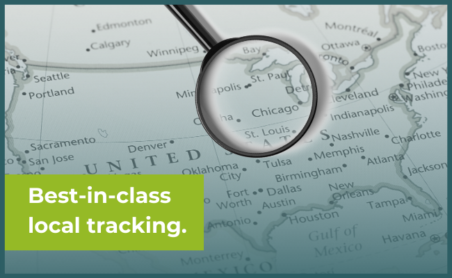 """magnifying glass on a US map and the phrase """"Best-in-class local tracking"""""""