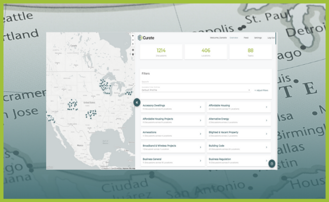 screencap of local legislative software showing discussions and topics in cities around the country