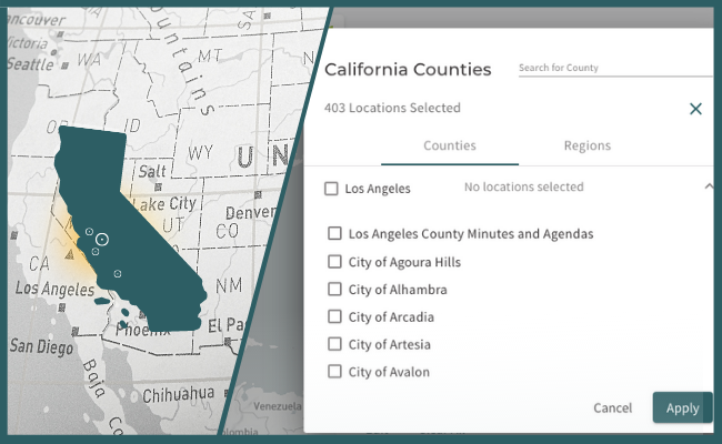 map of California and a screenshot of legislative tracking software showing options for filtering by city